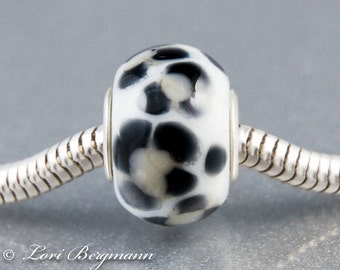 Snow Leopard Large Hole Slider Bead, handmade lampwork European charm, animal print