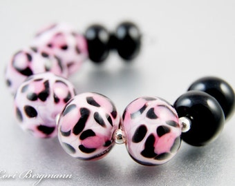 Pink Leopard Lampwork Glass Beads, Animal Print, Black Spacers, Jewelry Supplies, Handmade SRA