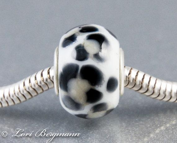 Snow Leopard Large Hole Slider Bead, handmade lampwork European charm, animal print