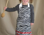 Child/Toddler Little Chef Apron (Ages 1 - 5) Zebra with Red Ribbon