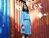 Blue Pleat Dress Mini Short Vintage Long Sleeve Metallic Silk Day Size XS US size 0 UK 2 Petite Fall Fashion Etsy Gift