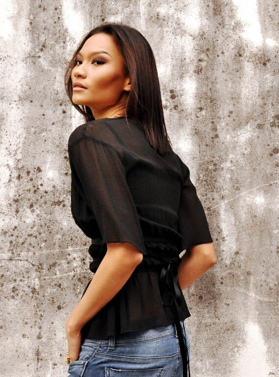 Ruched Black Blouse Short Sleeve Tank Top Ribbon Sheer Petite Holiday Fashion Etsy Gift