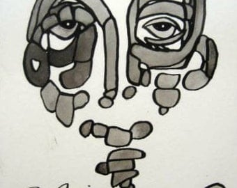 Black and White Face Original Abstract Painting Series