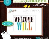 Modern Giraffe Custom Welcome Graphic by six chicks designs