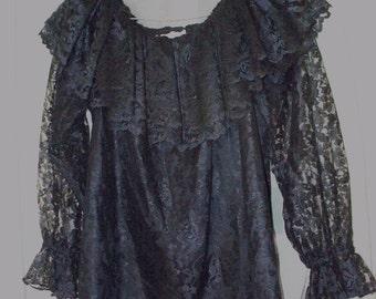 60s/70s black lace off the shoulder boho blouse