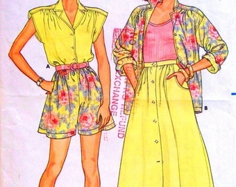 butterick fast and easy pattern 3818 - misses shirt, skirt and shorts  - (1986) - UNCUT