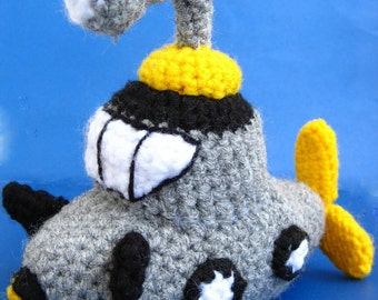 Amigurumi Submarine Crochet Pattern PDF children's softie ship plush doll tutorial