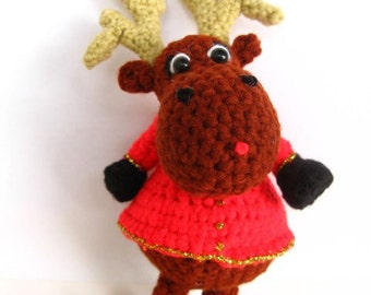 Amigurumi Rudolph the Reindeer Crochet Pattern PDF DIY handmade children's homemade christmas gift decoration softie plush toy tutorial