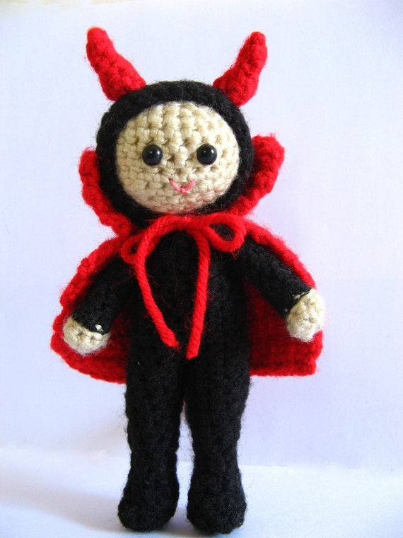 Amigurumi Devil Crochet Pattern PDF halloween decor idea children's softie human costume doll toy DIY tutorial