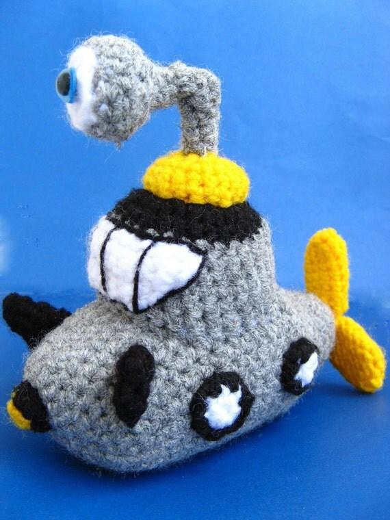 Amigurumi Submarine Crochet Pattern PDF children's softie ship plush doll tutorial