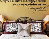 Scripture Wall Decal Charm is Deceptive Beauty Fleeting Woman Fears Lord Praised  PROVERBS  SCRIPTURE Vinyl Wall Decal
