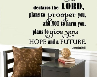 Wall Decal I know the plans I have for you    Scripture Wall Art  Jeremiah