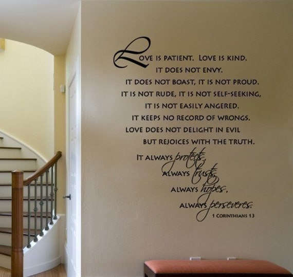 Love Is Kind Quote Best Wall Decal Scripture Love Is Patient Love Is Kind Corinthians