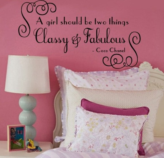 Wall Decal A girl should be two things Fabulous and Classy   COCO CHANEL vinyl Decal  Large