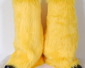 Yellow Monster Leg Warmers / Fluffies / Boot Covers - Cosplay / Furry / Animal / Rave
