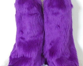Purple Monster Leg Warmers / Fluffies / Boot Covers - Cosplay / Furry / Animal / Rave