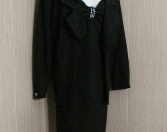 Black Vintage 50s 60s Dress Outfit Heidi J. Bling Party Dress Jacket Coat Evening Wear Avant Garde ML