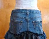 Upcycled Ruffle Bustle Denim Skirt Medium Steampunk Boho Recycled by Joolienn on etsy
