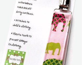 Girl Pacifier Clip - Pink and Green Elephants - Soothie - Gumdrop - Mam Pacifer Clip