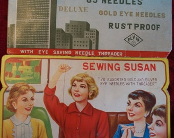 Vintage 50s Needle Books, Retro Art - Sewing Susan and Colossal