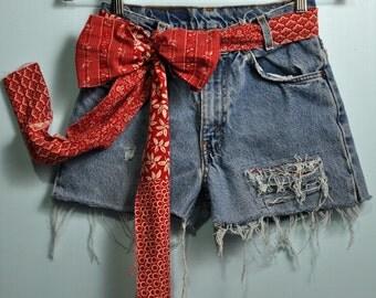 Vintage 80s Levi Shorts / High Waisted Denim Shorts / Jeans Shorts / Patched Levi Cutoffs / Frayed Levis Jean Shorts 26 Waist XS / S