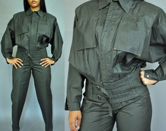 80s High Waisted Pants & Matching Batwing Jacket / Vintage 80s Clothing Parachute Pants Pantsuit Cropped Bomber Jacket Waist 28 Size M