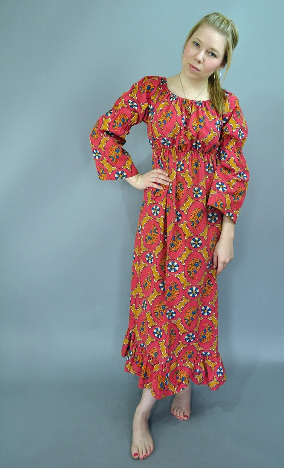 vintage 60s dress bohemian MAXI dress /  ruffled empire BABYDOLL maxi dress / Off Shoulder Gypsy Dress XS / S