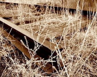 End Railroad Tracks Trains Colorado Vintage Iron Rails of Time Rustic Cabin Lodge Photograph