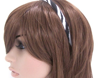 Skinny Zebra Headband - Black and White