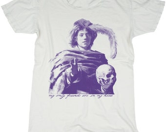 Skull Boy, 100 Percent Cotton Vintage White w/ Violet Print T-shirt, womens medium
