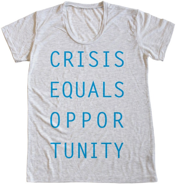 Crisis Equals Opportunity, Women's Heather Burnout Scoopneck Tee, White