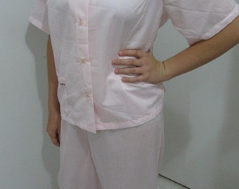 Vintage 60s 70s Pink PJs Pajamas Set Top and Pants by Dixie Belle - Med./Lg