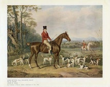 Horse & Hounds, Vintage Sporting Print 16, John Mytton, Horse Picture, Equine Decor, Horse Painting, Horse Decor, Fox Hunting, Fox Hounds