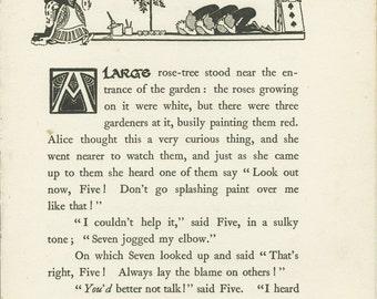 Alice in Wonderland, Vintage Print, 1922, Chp 8: Queen's Croquet, Black White, Gwynedd Hudson, Kids Bedroom Decor, Kids Vintage Art