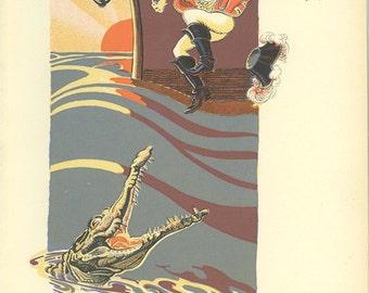 Thus Perished James Hook - Peter Pan Vintage Print 1931, Pirate, Crocodile, Anchor, Boat, Island, Peter Pan Decor, Kids Bedroom Decor