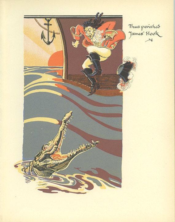 Thus Perished James Hook Peter Pan Vintage Print 1931
