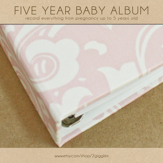 Baby Book (Pregnancy - 5 Years) - Light Pink/White Damask  (136 designed journaling pages & personalization included with album)