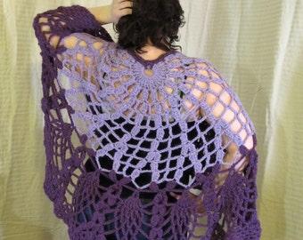 Purple Lace Shawl, Cape, Crochet