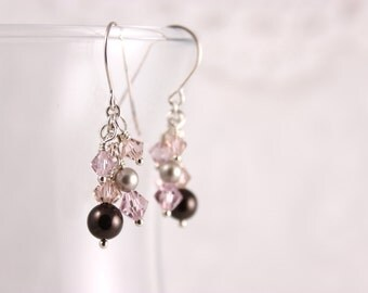 Mauve Cluster Earrings, Swarovski Crystal Pearl, Pale Pink, Dangle Cascade