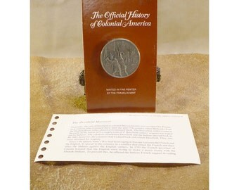 The Deerfield Massacre 1703 - Official History of Colonial America Pewter Medal by The Franklin Mint