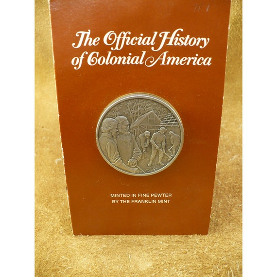 Captain John Smith Pewter Medal by The Franklin Mint - Official History of Colonial America Medal Series - Vintage Collector Medals