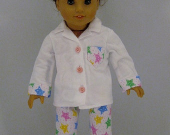 Star Print Flannel Pajamas  for American Girl or other 18 inch Dolls