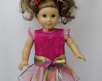 Doll Clothes Like Fancy Nancy Dress with Crown and Bows fits American Girl Doll or other 18 inch Dolls