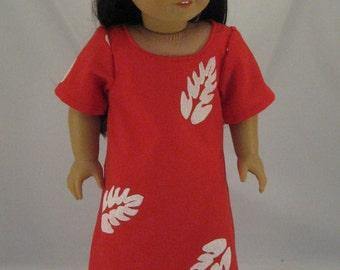 American Girl Sized Lilo Hawaiian Dress With Hibiscus Flower Hair Clip