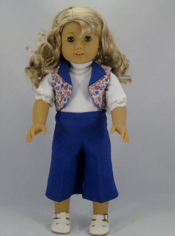 Doll Clothes Blue Capris with Paisley  Vest  and Top  for American Girl or other 18 inch Dolls