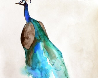 Watercolor Painting - Peacock Art - Bird Art Watercolor - Peacock - Large Print 24x30 - Poster