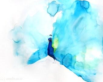 Watercolor Painting - Peacock Art - Bird Art - Gift for Her - Peacock III - 8 x 10 Giclee Print