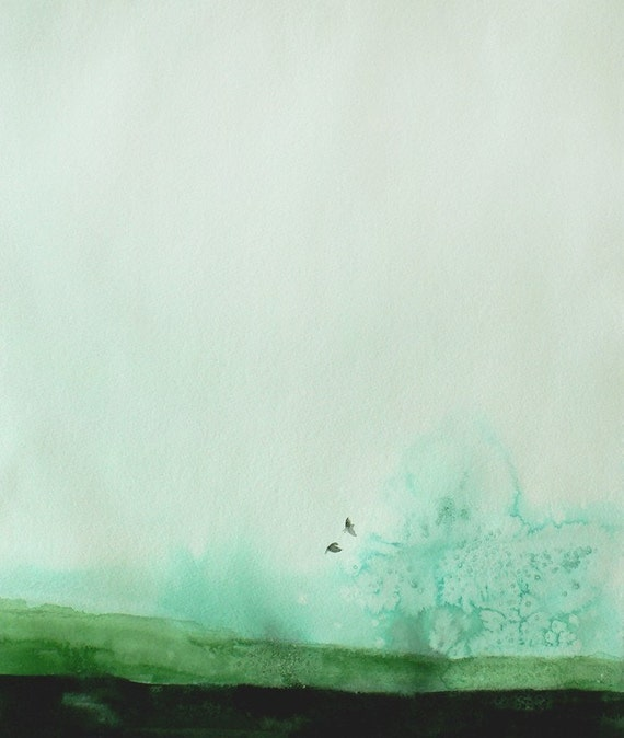 50% Off SALE - Landscape Painting with Birds - Wall Decor - Delicate - 11x14 Giclee Print  - Green Sky Birds