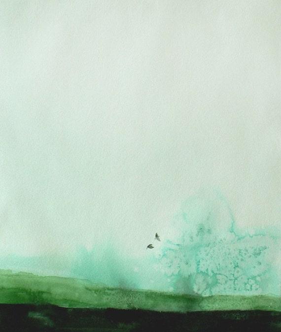 Large Wall Art - Decor - Watercolor Landscape - Delicate - Large 16x20 Print - Poster