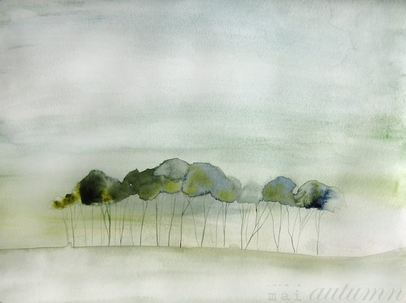 60% Off SALE - Landscape Painting - Quiet - Watercolor - 11x14 Giclee Print of Original Painting - Landscape with Green Trees